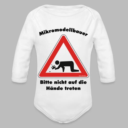 Mikromodell Warnschild Hände - Baby Bio-Langarm-Body