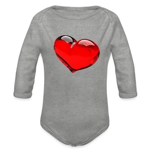 serce 3D - Ekologiczne body niemowlęce z długim rękawem
