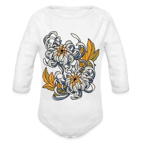 Chrysanthèmes enlacés - Body Bébé bio manches longues