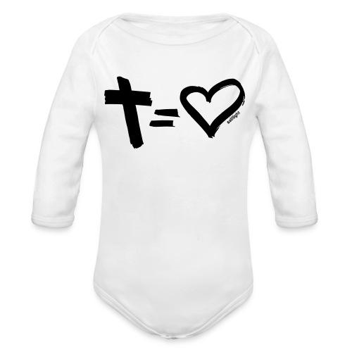 Cross = Heart BLACK // Cross = Love BLACK - Organic Longsleeve Baby Bodysuit