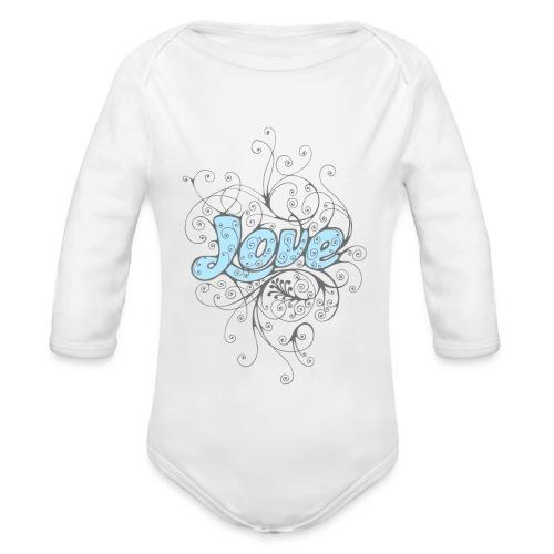 LOVE CON DECORI - Body ecologico per neonato a manica lunga