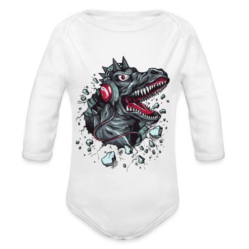Dinosaurio con cascos - Body orgánico de manga larga para bebé