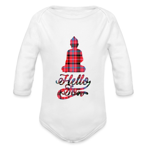 Hello Jon Red Tartan Homeware - Organic Longsleeve Baby Bodysuit