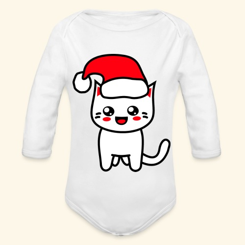 Kawaii Kitteh Christmashat - Baby Bio-Langarm-Body