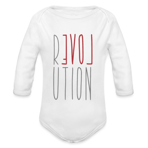 Love Peace Revolution - Liebe Frieden Statement - Baby Bio-Langarm-Body