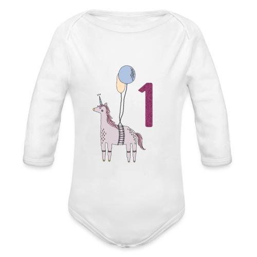 1 Jahr Einhorn / Geschenkidee zum 1. Geburtstag - Baby Bio-Langarm-Body