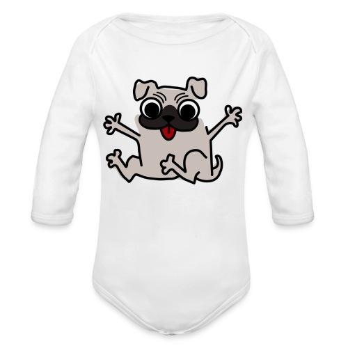 crazy pug - Baby Bio-Langarm-Body