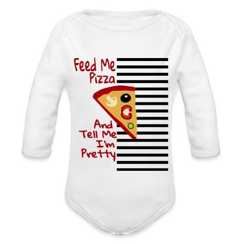 Nutri la mia pizza e dimmi che sono carina - Body ecologico per neonato a manica lunga