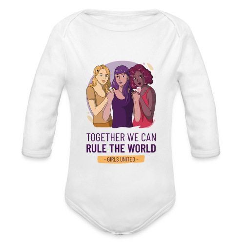 t shirt design generator featuring three women - Body orgánico de manga larga para bebé