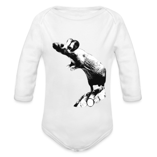 Seisova nakuhiiri - mustavalko - Vauvan pitkähihainen luomu-body