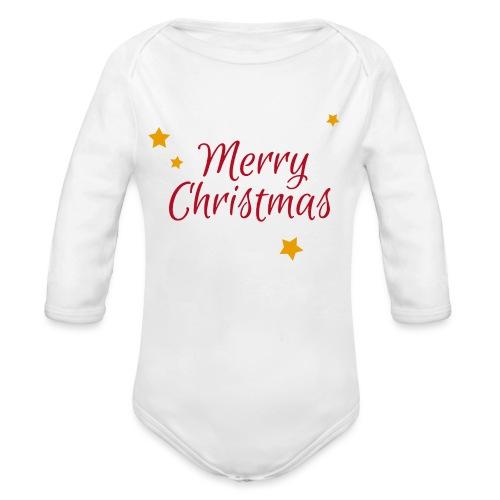 Merry Christmas, Frohe Weihnachten - Baby Bio-Langarm-Body