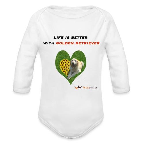 Life Is Better With Golden Retriever - Body ecologico per neonato a manica lunga