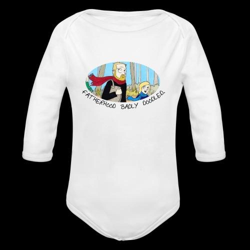 Fatherhood Badly Doodled - Organic Longsleeve Baby Bodysuit