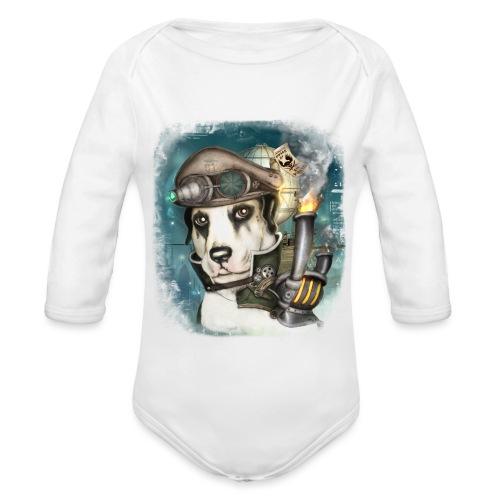 Steampunk Dog #2b - Body ecologico per neonato a manica lunga
