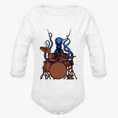 Oktopus spielt Schlagzeug - Baby Bio-Langarm-Body