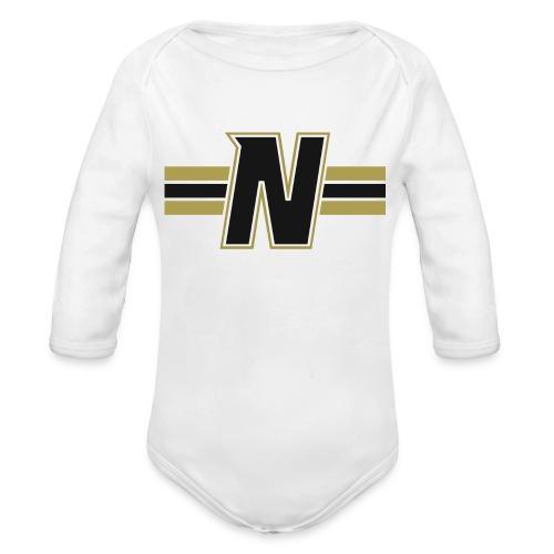 Nordic Steel Black N with stripes - Organic Longsleeve Baby Bodysuit