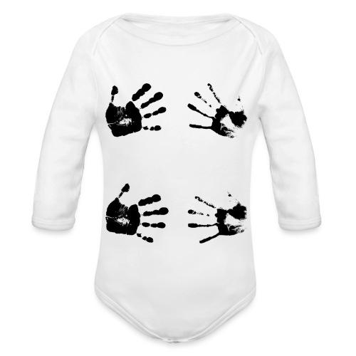 Schwarze Handabdrücke. Geschenk - Body ecologico per neonato a manica lunga