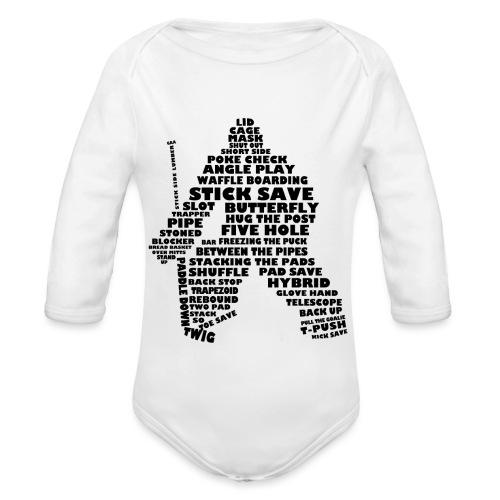 Language of Hockey (Goalie version, black print) - Organic Longsleeve Baby Bodysuit