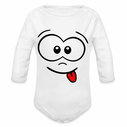 Gesicht Zunge rausstrecken - Baby Bio-Langarm-Body
