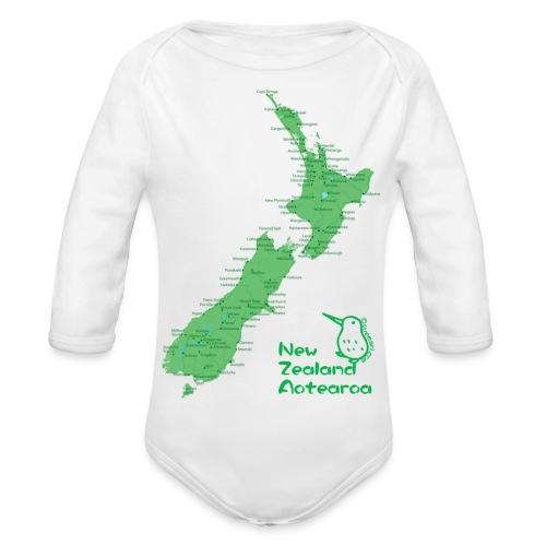 New Zealand's Map - Organic Longsleeve Baby Bodysuit