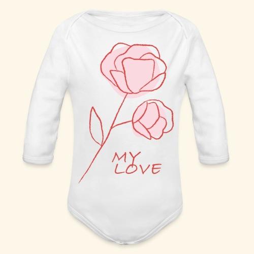 Rose My Love - Mon Amour - Saint valentin - Body Bébé bio manches longues