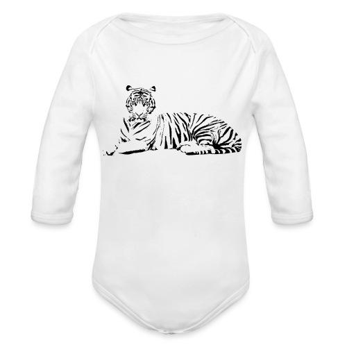 Weisser Tiger Shirt Geschenk - Baby Bio-Langarm-Body