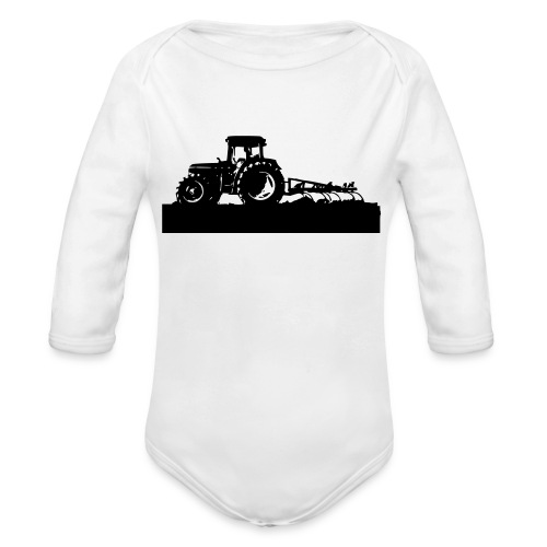 Tractor with cultivator - Organic Longsleeve Baby Bodysuit