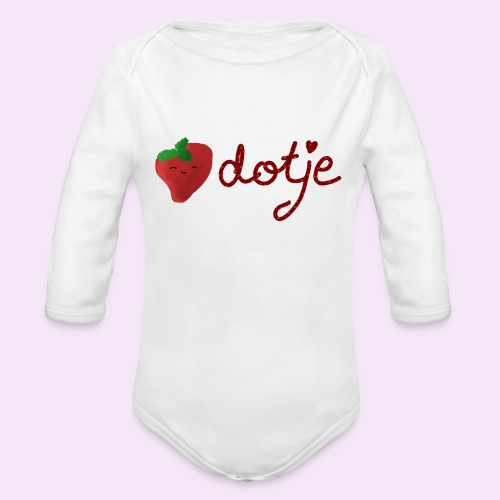 Baby aardbei Dotje - cute - Baby bio-rompertje met lange mouwen