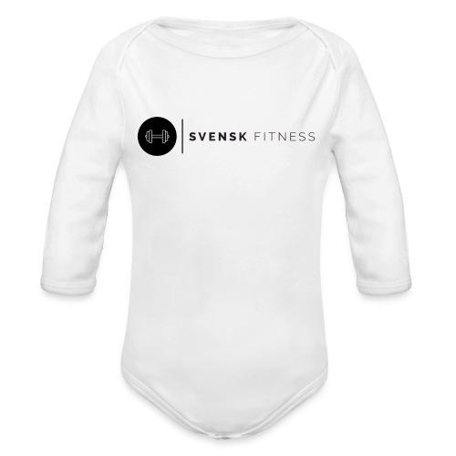 Svart logo vertikal dam - Ekologisk långärmad babybody