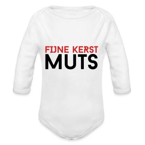 Fijne Kerst Muts - Baby bio-rompertje met lange mouwen