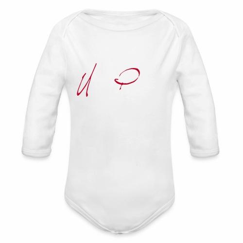 Logga röd och vit text - Ekologisk långärmad babybody