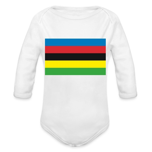 Cycling_World_Champion_Rainbow_Stripes-png - Baby bio-rompertje met lange mouwen