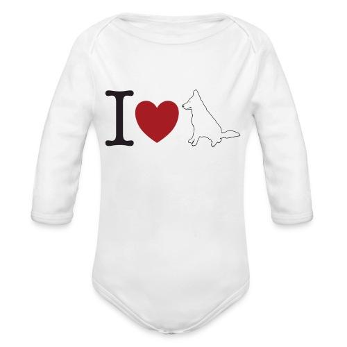 I LOVE White Dog - Ekologiczne body niemowlęce z długim rękawem