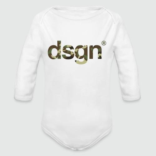 DSGN_04_CAMO_WHITE - Baby bio-rompertje met lange mouwen