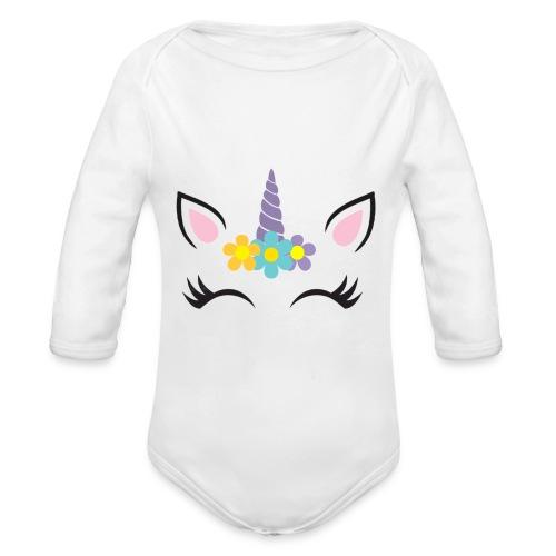 Unicornio - Body orgánico de manga larga para bebé