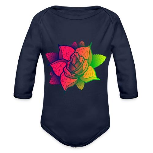 rose tricolore - Body Bébé bio manches longues