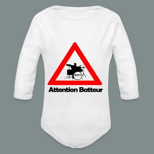 Attention batteur - Body Bébé bio manches longues