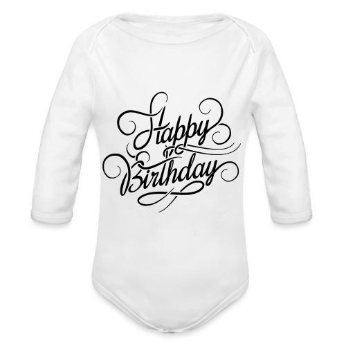 happy birghday - Ekologiczne body niemowlęce z długim rękawem