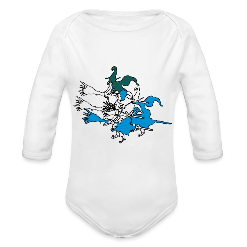 Witches on broomsticks Men's T-Shirt - Organic Longsleeve Baby Bodysuit