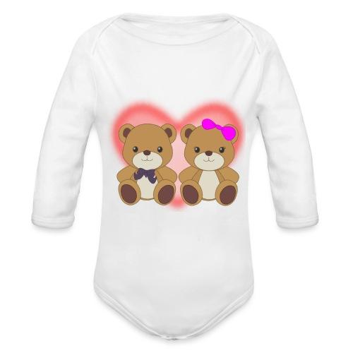 Orsetti con cuore - Body ecologico per neonato a manica lunga