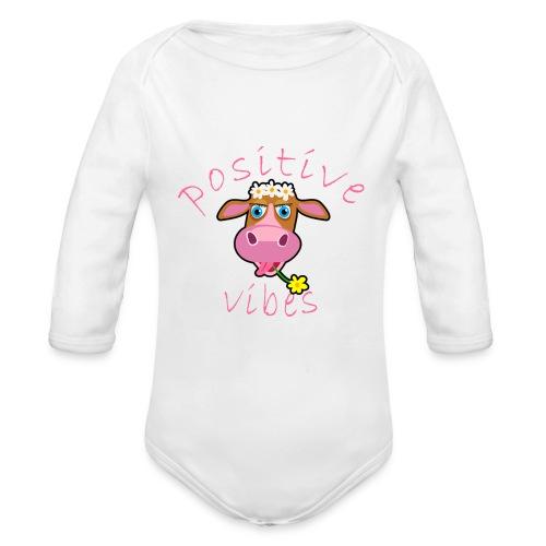 positive cow pink - Body ecologico per neonato a manica lunga