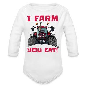 I farm you eat case - Baby bio-rompertje met lange mouwen