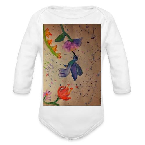 Kolibrie & bloemen - Baby bio-rompertje met lange mouwen