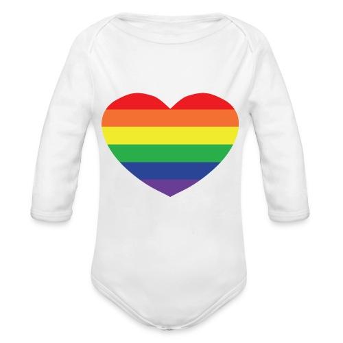 Rainbow heart - Organic Longsleeve Baby Bodysuit