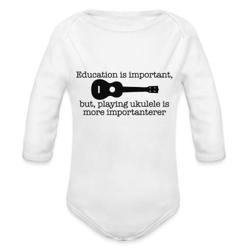 Important Ukulele - Organic Longsleeve Baby Bodysuit