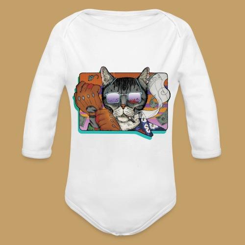 Crime Cat in Shades - Ekologiczne body niemowlęce z długim rękawem