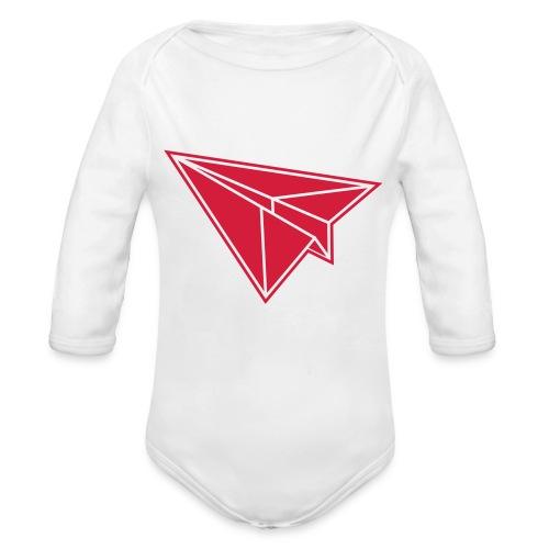 1 color - Origami Papierflugzeug Jet Papierflieger - Baby Bio-Langarm-Body