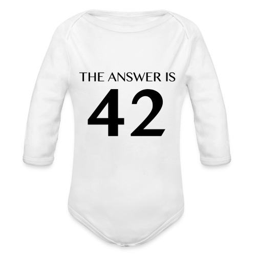 The Answer is 42 Black - Organic Longsleeve Baby Bodysuit