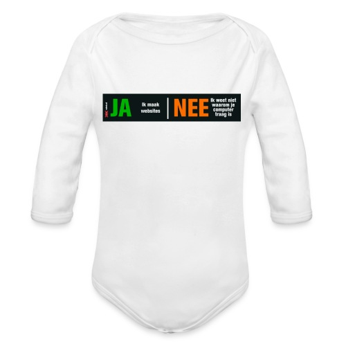 Ja ik maak websites - Baby bio-rompertje met lange mouwen