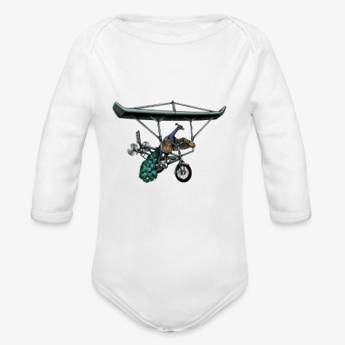 Flight of the Peacock - Organic Longsleeve Baby Bodysuit